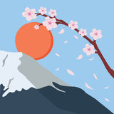 Snowy mountain fuji sakura flower fall japan sun Royalty Free Stock Photos
