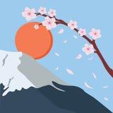 Snowy mountain fuji sakura flower fall japan sun Royalty Free Stock Photos