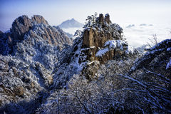 Snowy mountain huangshan sunrise. Distant view Royalty Free Stock Image