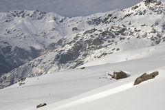 With snowy mountain huts in the Alps Royalty Free Stock Images