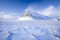Snowy mountain. A snowy mountain in Iceland Royalty Free Stock Photography