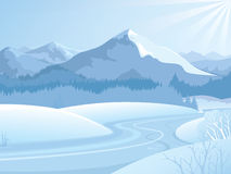 Snowy mountain landscape Royalty Free Stock Photos