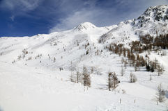 Snowy mountain landscape Stock Image
