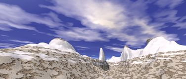 Snowy mountain landscape Stock Photo