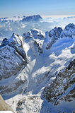 Snowy mountain landscape in the Dolomites, Italy. Ski resort in a snow covered mountain. Dolomites, Italy Stock Images