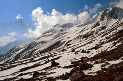 Snowy Mountain Landscape in Himalaya. Annapurna Base Camp Track. stock images