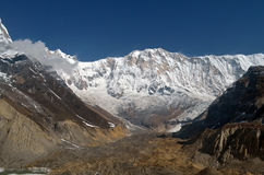 Snowy Mountain Landscape in Himalaya. View from Annapurna Base Camp Track. royalty free stock photos