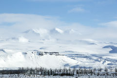 Snowy mountain landscape in Iceland Stock Photography