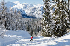 Snowy mountain landscape with the Julian Alps Stock Photos