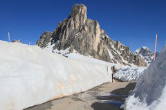 Snowy mountain landscape at Passo Giau Stock Image