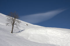 Snowy mountain landscape. Mountain landscape with snow on a sunny day Royalty Free Stock Image