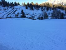 Snowy mountain landscape in vipiteno in trentino alto adige. In italy in december at new year`s eve stock photo