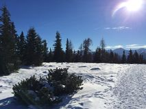 Snowy mountain landscape in vipiteno in trentino alto adige. In italy in december at new year`s eve royalty free stock photo
