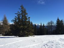 Snowy mountain landscape in vipiteno in trentino alto adige. In italy in december at new year`s eve stock image