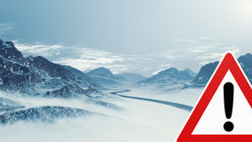 Snowy Mountain Landscape with Warning Sign Stock Photography