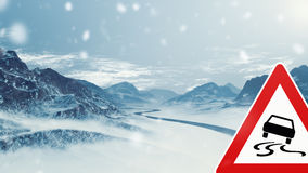 Snowy Mountain Landscape with Warning Sign Royalty Free Stock Photography