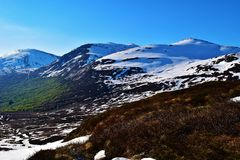 Snowy mountain. Lots of snow on the mountains in summertime. Photo taken in Norway Royalty Free Stock Images