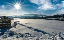 Snowy mountain meadow on a hillside. Snowy mountain meadow with wooden fence on a hillside. lovely winter scenery in mountainous countryside Royalty Free Stock Photography
