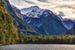 Snowy mountain in the Milford Sound, New Zealand Stock Image