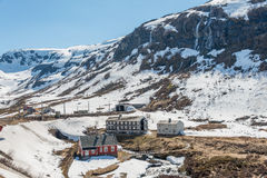 Snowy mountain at Myrdal station. Royalty Free Stock Photography