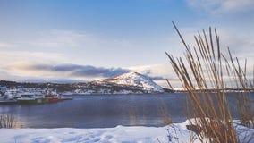 Snowy mountain near lake royalty free stock photos
