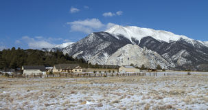 Snowy Mountain. Overlooking a beautiful mountain home in winter, with Mount Princeton in the background, in southern Colorado Stock Images