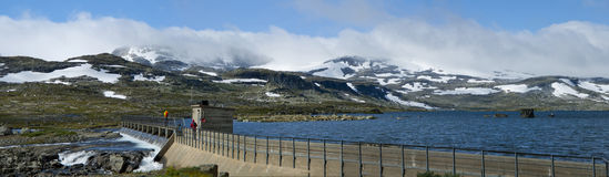 Snowy mountain panorama. Finse, Norway Royalty Free Stock Photo