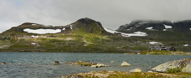 Snowy mountain panorama. Finse, Norway Royalty Free Stock Images