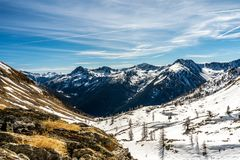Snowy mountain panorama in ski resort isola 2000, france royalty free stock photo