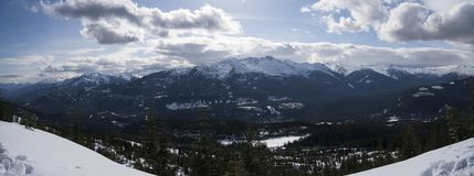 Snowy mountain panorama. Snowy mountain trees with a view overlooking Mountains Royalty Free Stock Photo