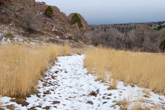 Snowy Mountain Path Stock Photo
