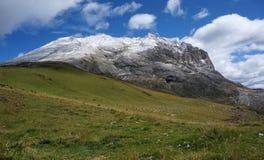 Snowy mountain peak / distinctive Sassopiatto in gardena valley. High peaks of dolomite mountains and alp scenery / gardena and fassa valley / south tyrol / Stock Image