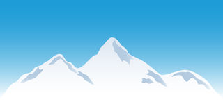 Snowy mountain peaks vector illustration