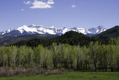 Snowy Mountain Peaks. Snowy peaks above a spring-green valley in western Colorado Royalty Free Stock Photo