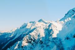 Snowy mountain  peaks of Sochi stock photos