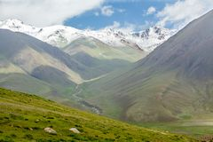 Snowy mountain peaks, Tien Shan Stock Photo