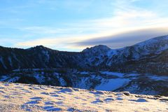 Snowy mountain in Pyrenean,  France stock photo