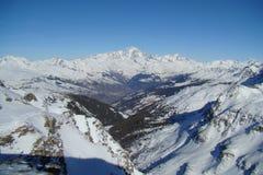 Snowy mountain range. Aerial view of a snowy mountain range Royalty Free Stock Photos
