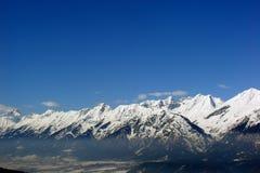 Snowy mountain range stock photo