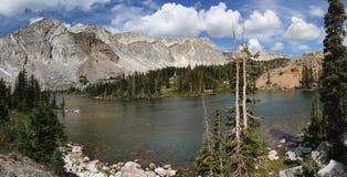Snowy Mountain Range, Lake Marie, Medicine Bow National Forest, WY. Snowy Mountain Range, Medicine Bow National Forest, WY. Short hike off scenic byway with royalty free stock photo