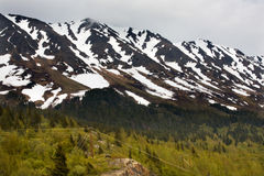 Snowy Mountain Range Seward Highway Alaska Stock Photography
