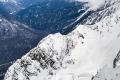 Snowy mountain range sochi Russia height 2320.  stock photos