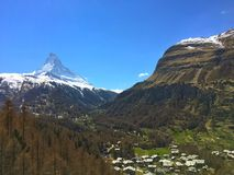 Swiss Alps landscape. Snowy mountain range stock photo