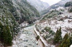Snowy Mountain Ravine. At Shikoku Japan Royalty Free Stock Photos