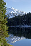 Snowy Mountain Reflection In Lake royalty free stock images