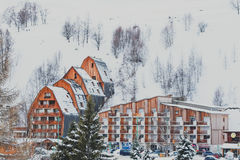 Snowy mountain resort