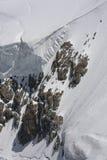 Snowy mountain ridge on the glacier. Aosta Valley Royalty Free Stock Photography