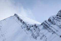 A snowy mountain ridge on Mount Chester in Kananaskis, Alberta royalty free stock images