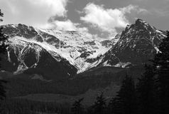 Snowy mountain ridge. In the Rocky Mountains, Jasper National Park, Alberta, Canada Royalty Free Stock Image