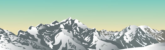 Snowy mountain ridge. Vector illustration. Royalty Free Stock Images